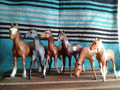 Breyer horse lot: 6 foals. Clydesdale, 2 Running, Grazing, Paint, and Stormy