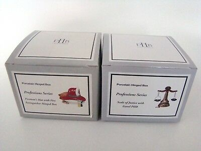 PHB Midwest of Cannon Falls Porcelain Hinged Boxes - Professions series SET OF 2