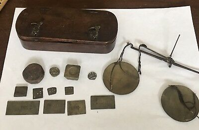 Antique French Coin Balance Scale in Wood Case 18th Century Apothecary Gold
