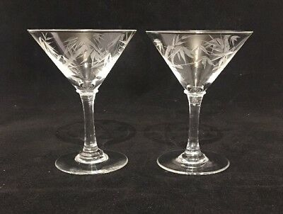 Set of 2 - Vintage Etched Mini Martini Cordial Glasses Clear Bamboo b805-#742
