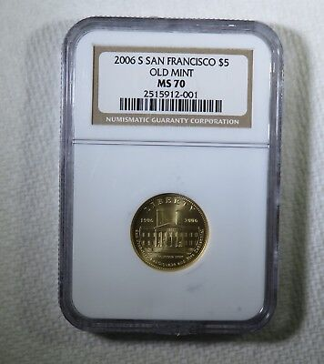 2006 S $5 San Francisco Old Mint Uncirculated Commemorative Gold Coin NGC MS70