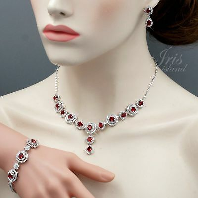 White Gold Plated Ruby Cubic Zirconia Necklace Bracelet Earrings Jewelry Set 578