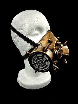 Gold Spiked Steam Punk Gas Mask Goth Halloween Costume Respirator Prop Cosplay