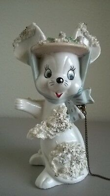 "Vintage 1950's Porcelain Mouse figurine with a bonnet and chain. 6"" tall"