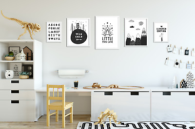 Set of 5 Boys Bedroom Prints / Pictures for Playroom Kids Room / Black & White