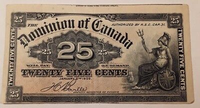 1900 Canada Shinplaster 25 Cents  Note .