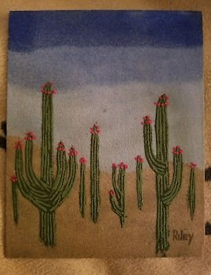 Original paintings by Riley saguaro cactus sand painting California Desert West