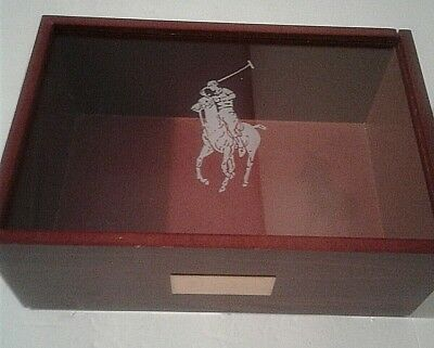 Polo Ralph Lauren Cologne Display Wooden Case Box Collectible Advertisement