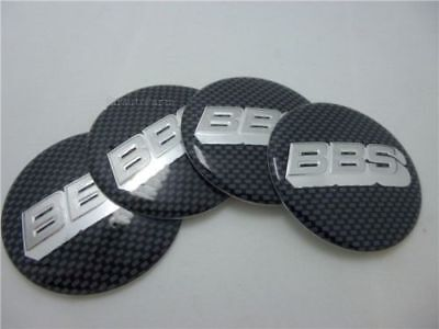 4x (Sticker Only) 65mm BBS Black / Silver Carbon Fiber Wheel Centre Cap Sticker