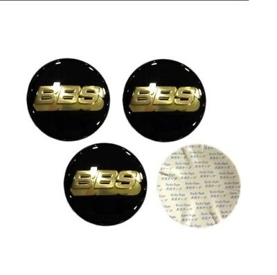 4x (Sticker Only) 65mm BBS Black / Gold Wheel Centre Cap Sticker Logo 3D 6.5cm