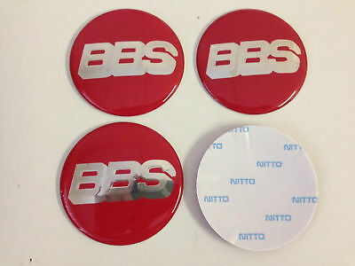 4x (Sticker Only) 65mm BBS Red / Silver Wheel Centre Cap Sticker Logo 3D Decal