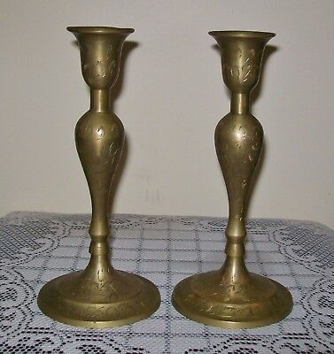 VINTAGE PAIR OF ETCHED BRASS CANDLE HOLDERS 21cm
