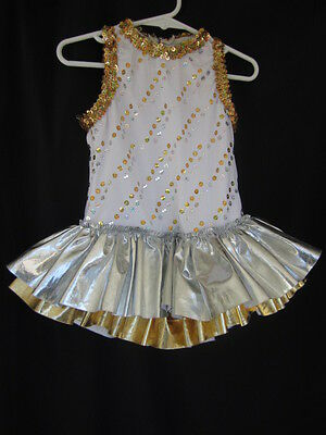 Creations by Cicci White  Embellished Girls Tutu Leotard Dance Dress Sz S (U-84)