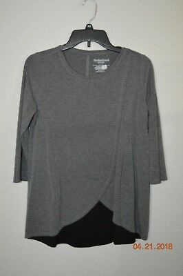 Motherhood Nursing Size Small Gray & Black 3/4 Sleeve Top