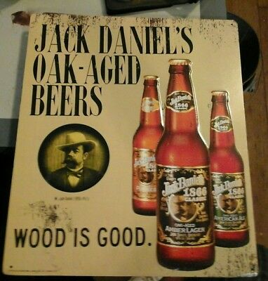 "jack daniels oak-aged beer store sign 1996 17""by 14"""