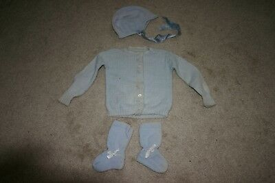 Antique Vintage Knit Baby Boy Clothes Sweater Hat Socks Booties Outfit
