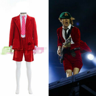 School Boy Angus Young AC/DC School Boy Costume Fancy Dress Party Outfit