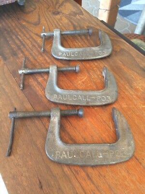 3 Vintage Quality Paulcall -Po3 Unbreakable Clamps. Good Condition