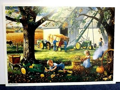 JOHN DEERE TRACTOR ART by CHARLES FREITAG - AUTUMN MEMORIES - SIGNED PRINT ONLY