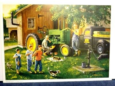 JOHN DEERE TRACTOR ART by CHARLES FREITAG - OLD TIME SERVICE - SIGNED PRINT ONLY