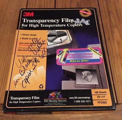 3M Transparency Film For High Temperature Copiers PP2950 90 Sheets USED OPEN