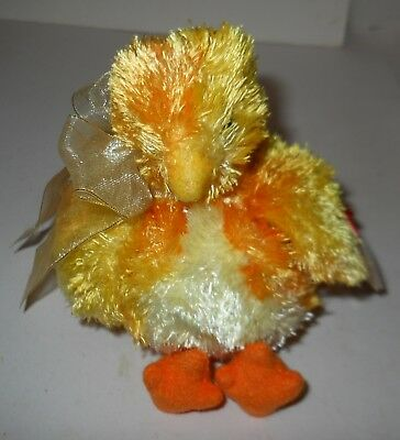 "Ty Beanie Babies ""chickie"" Adorable Yellow & Orange W/ribbon ""2001"" Nwt's!"