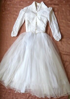 VINTAGE ORIG 50s LACE & TULLE WEDDING OUTFIT STRAPLESS DRESS, BOLERO, BUSTIER