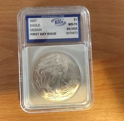 2007 $1 American Silver Eagle One Dollar Igs Ms70 Coin .999 Bullion 1Oz Liberty