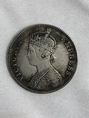British India 1881 Queen Victoria Silver Colored Coin One Rupee For Collections