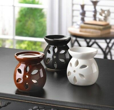 Mini Oil Warmer Trio, Ceramic, White & Brown & Black, 3 Piece Set, NEW