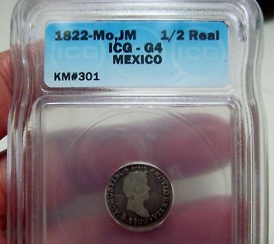 1822 JM (MEXICO) 1/2 REAL (ITURBIDE) SILVER -  SCARCE DATE-- one year   -ICG