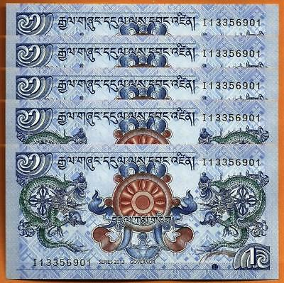 5 PCS Bhutan 2013 CONSECUTIVE  UNC 1 Ngultrum Banknotes Paper Money Bill P-27b