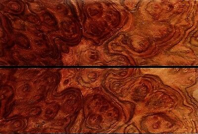 Marbled Black Vein Australian Red Mallee Burl Wood Knife Scales (Bookmatched)