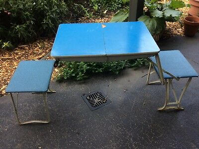 Retro folding picnic table for two, blue, good condition, very cute