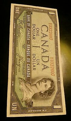 Devil's face BANK OF CANADA 1954 $1 NOTE Beattie & Coyne MA3322607
