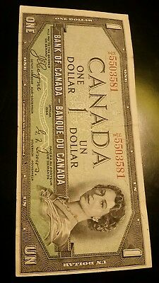 Devil's face BANK OF CANADA 1954 $1 NOTE Beattie & Coyne HA5503581