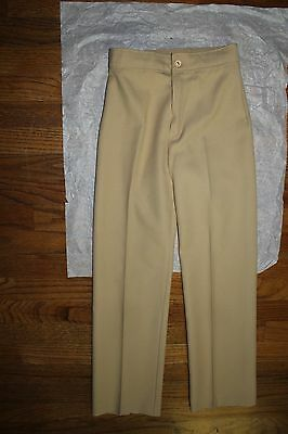 NOS 1970s Girls' Ecru Khaki Camel Beige Tan Sandstone Trousers Pants Size 10 Ten
