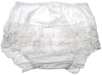 Baby Girls Broderie Anglaise Frilly Pants Knickers White Soft Touch 0-6 -12 -18m