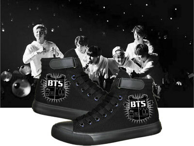 Bts Bulletproof Boy Scouts cosplay Black men women high top flat canvas  shoes 3e784b67a
