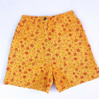 Vintage Kids Classic 90s Yellow NOS Grunge Deadstock Floral Girls Shorts 6 7 8 Y