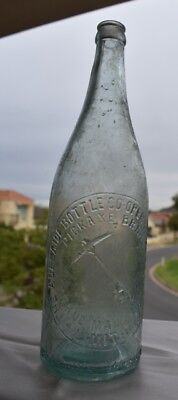Vintage Collectable Clear Interwtined Pickaxe Crown Seal Beer Bottle Pick Axe