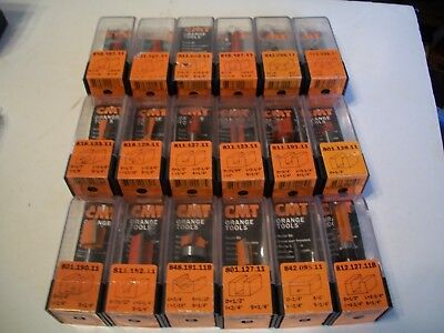 "CMT Router Bit Lot Of 16pc. Check Pictures for Numbers, All new! 1/4"" Shanks"