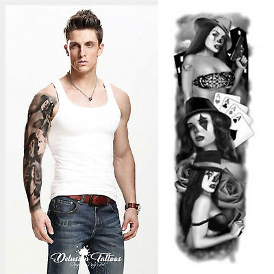 Realistic Temporary Tattoo Sleeve, Gun, Gangster, Ace, Mens, Womens, Waterproof
