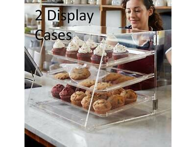 (2 Pack) 3 Tray Bakery Clear Acrylic Pastry Display Case with Rear Doors