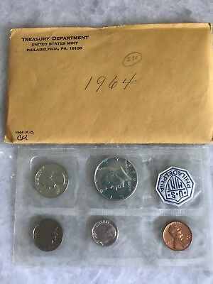 1964-P U.s. 5-Coin Silver Proof Set In Original Envelope, Sealed In Mint Pack