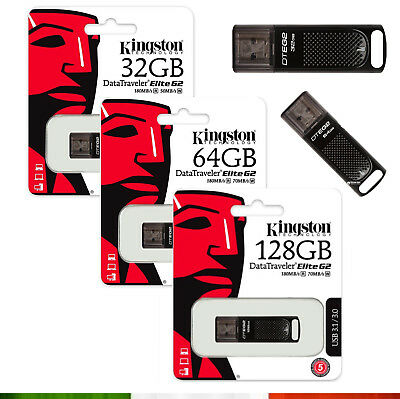 Pendrive Usb 3.0 Kingston Chiavetta 16 Gb 32 Gb 64 Gb 128 Gb Memoria Elite G2