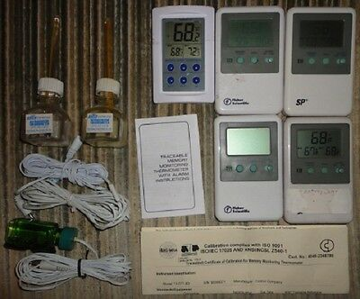lot of 5  working traceable monitoring thermometer with alarm & 2 refrigerator