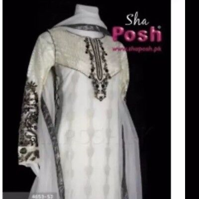 07bec74b30 Sha Posh Original Readymade Chiffon & Net Gown Suit-Pakistani Wear-Size S