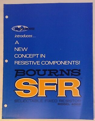 1972 Bourns SFR Selectable Fixed Resistor 4002 Brochure Trifold