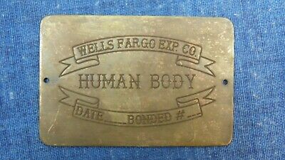 HUMAN BODY W F Express Marker Coffin Box Plaque Plate Tag Casket